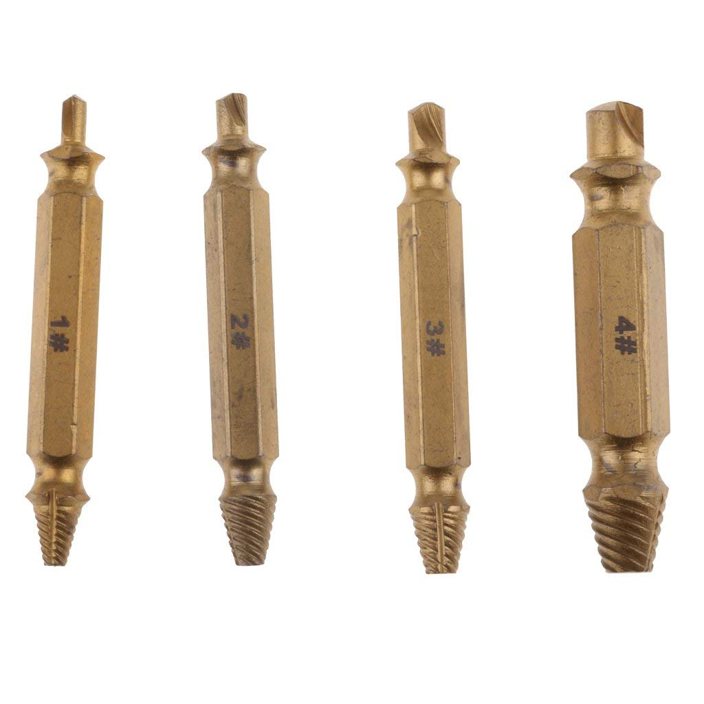 Baoblaze Damaged Screw Extractor Set of 4 Pcs High-Speed Steel Drill Bits for Removing Stripped Screws and Broken Bolt