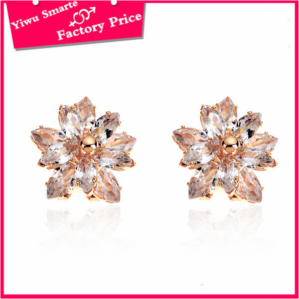 custom cute <strong>fashion</strong> rose gold stud glass crystal earrings jewelry made in china wholesale
