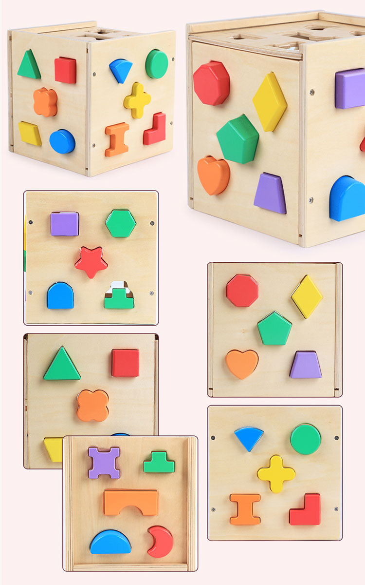 25 Holes Geometric Shape Cube Multi-functional Wooden Kid Brain Game Box Preschool Learning Toy