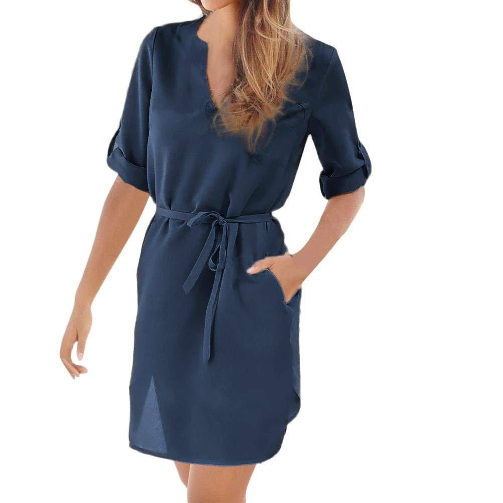 Goodtrade8® Dress Summer,❤️Women's Casual Solid 1/2 Sleeved V-Neck Lace-up Irregular Hem Beach Chiffon Dress with Pocket