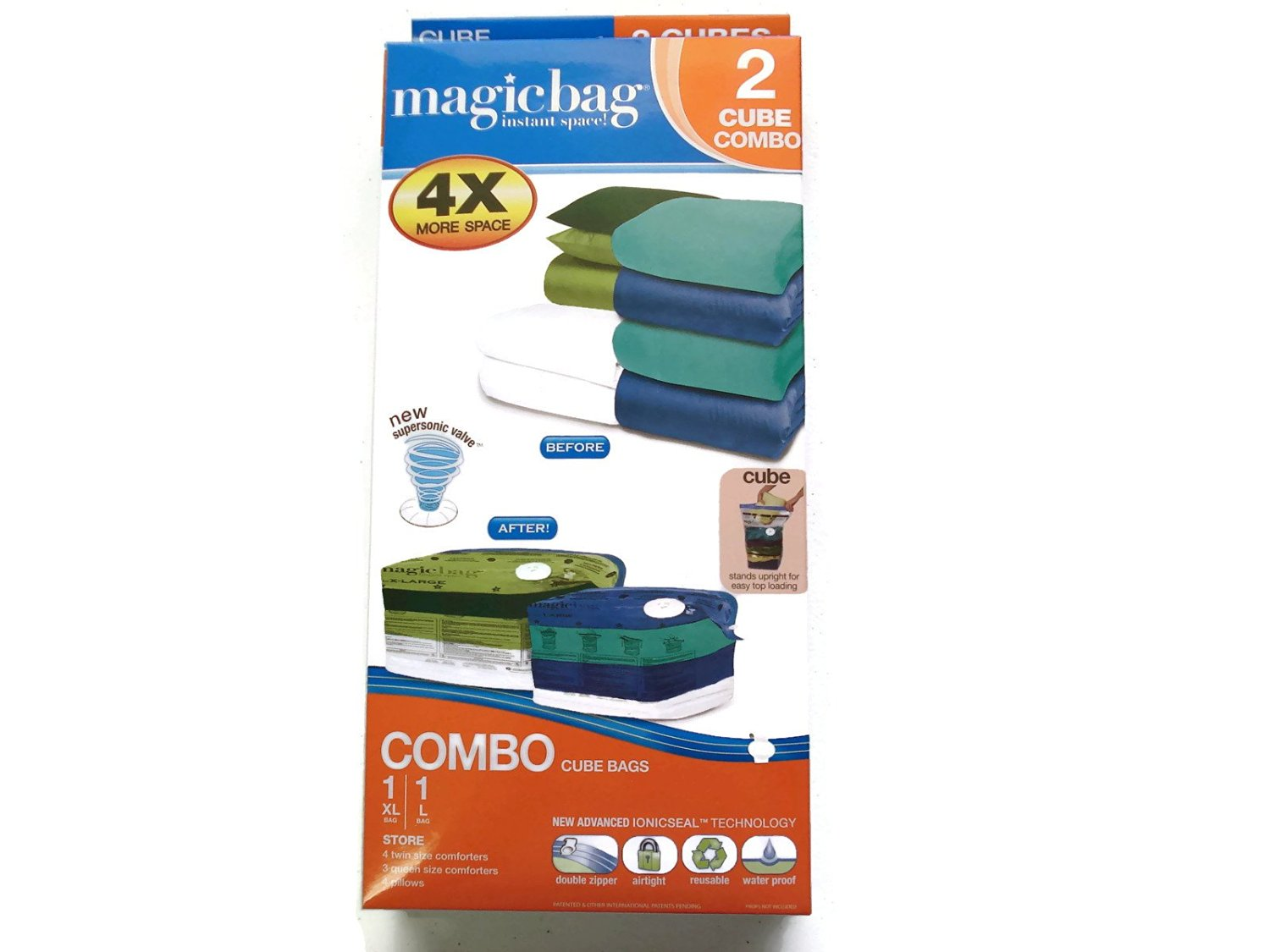 ddf3104e4e3 Get Quotations · MagicBag Instant 2 CUBE Combo Pack Space Saver Vacuum  Storage Bags  One X-Large