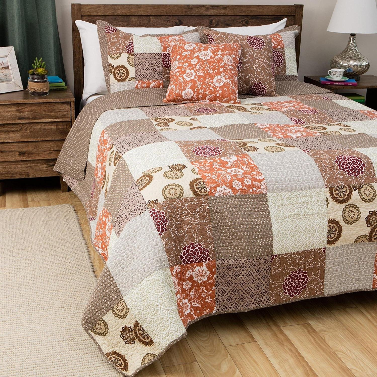 MISC 2pc Grey Floral Twin Size Patchwork Quilt, Brown Burgundy Spring Green Gray Geomectric Flowers, Synthetic Fiber, Flower Medallion Geometrical Traditional, Cottage Country Lake House, Cotton