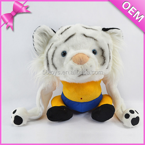 lovely and cute plush white tiger stuffed animal shaped hats for kids adults