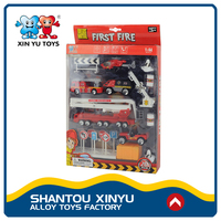 Kids vehicles toys play set mini fire 1 64 scale diecast trucks for young boy