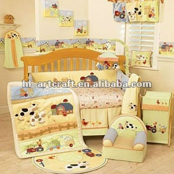 Yellow Sheep Cotton Baby Crib Bedding Set