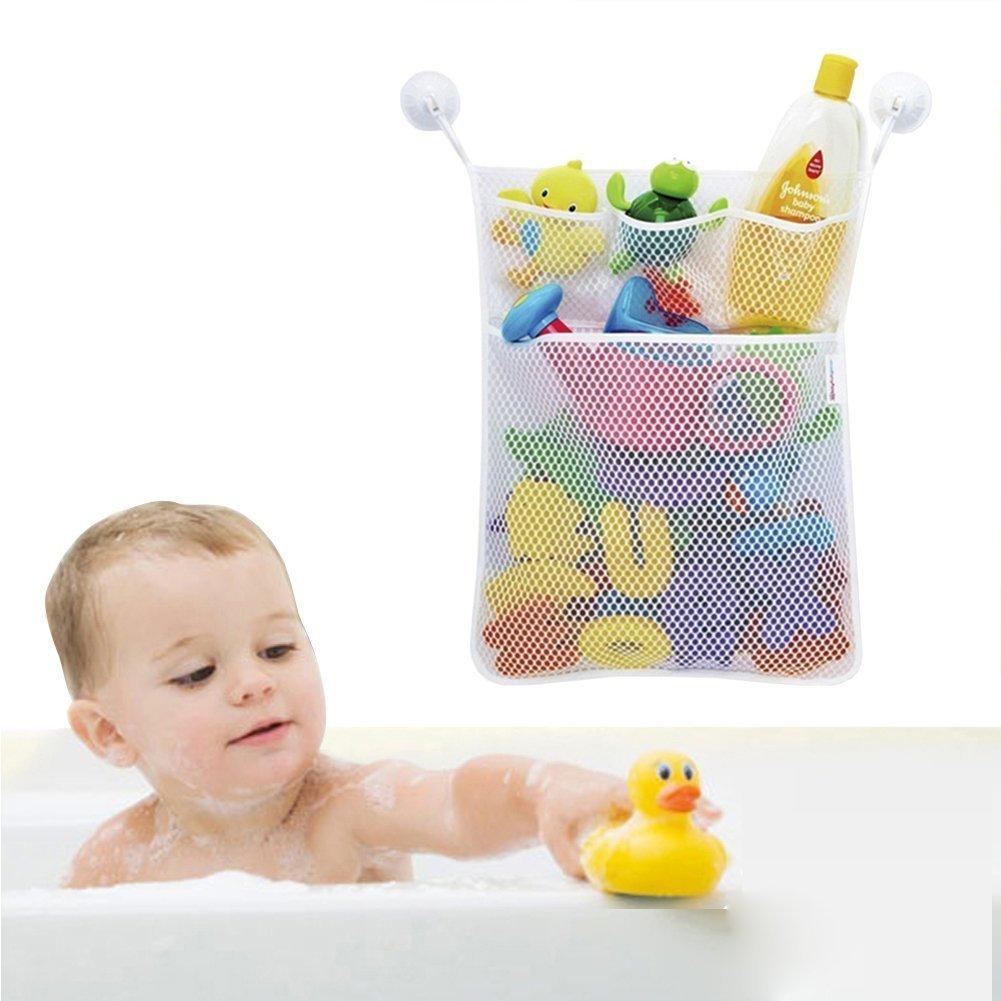 "Bath Toy Organizer, Quick Dry Bathtub Mesh Net, Massive Baby Toy Storage Bin + 3 Soap Pockets 2x Suction Hooks, Multi-Functional For Storage Option, Large 18x20"" by HandyThings"