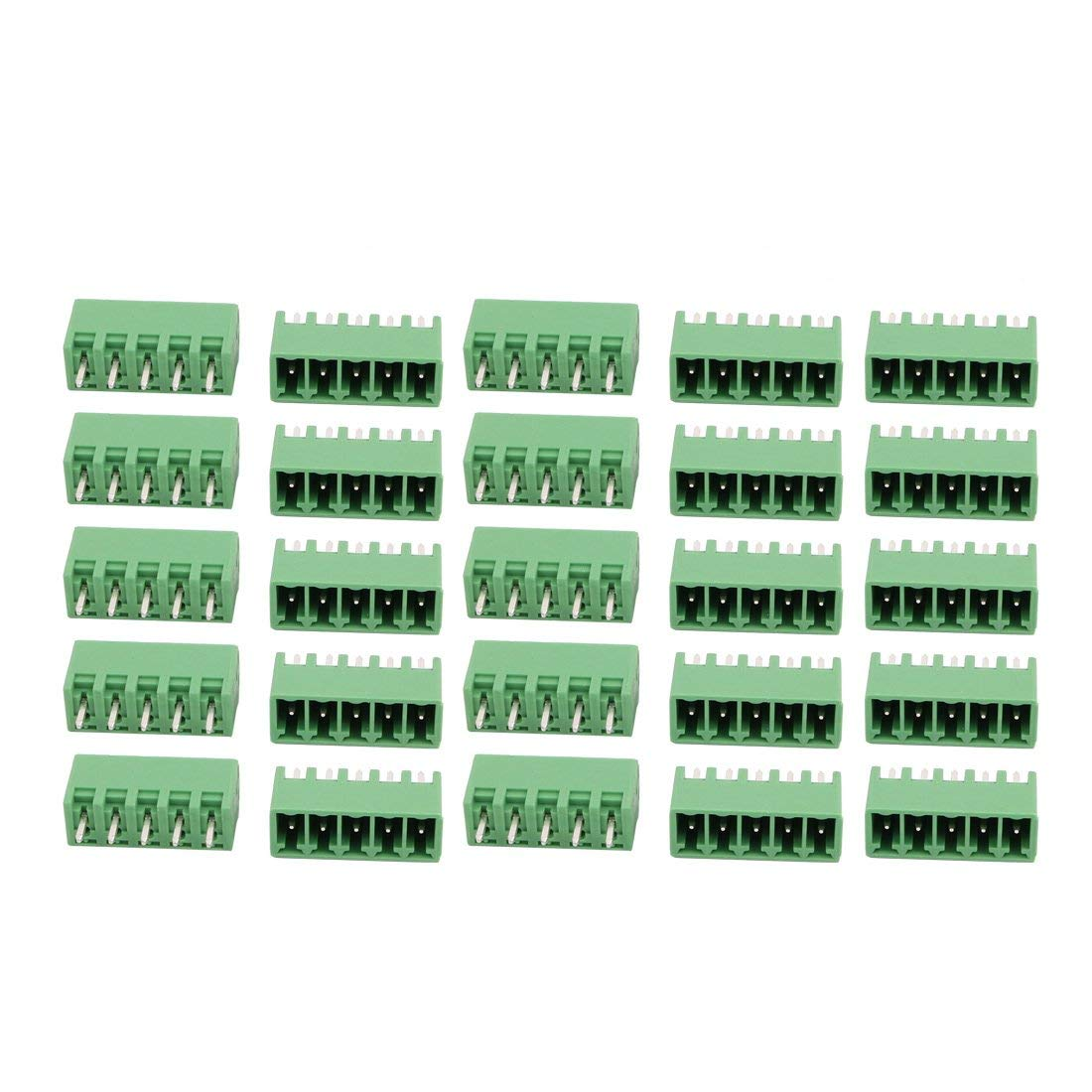 uxcell 25Pcs AC 300V 8A 3.81mm Pitch 5P Terminal Block Wire Connection for PCB Mounting