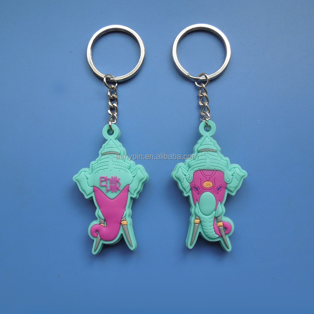 soft rubber pvc embossed logo double side Thailand religious souvenir travelling gifts keychain decoration key holder