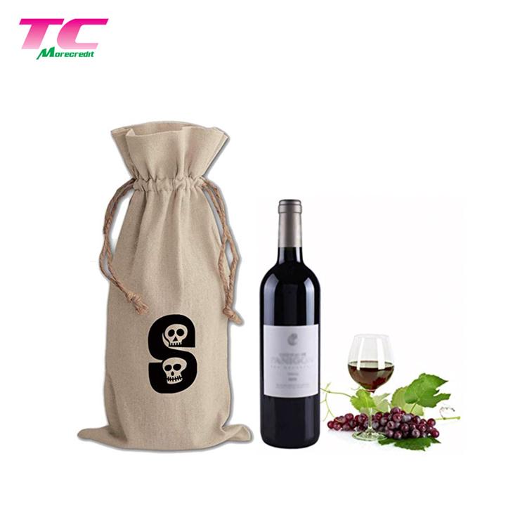 Sıcak satış geri dönüşümlü çuval bezi parti hediye çantası kullanımlık 1 şişe hediye şarap çantaları İpli