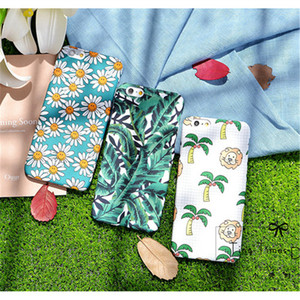green Botanical Tropical Hawaiian Floral tree leaf Flower pattern print hard plastic Phone cover Case for iphone 7 plus