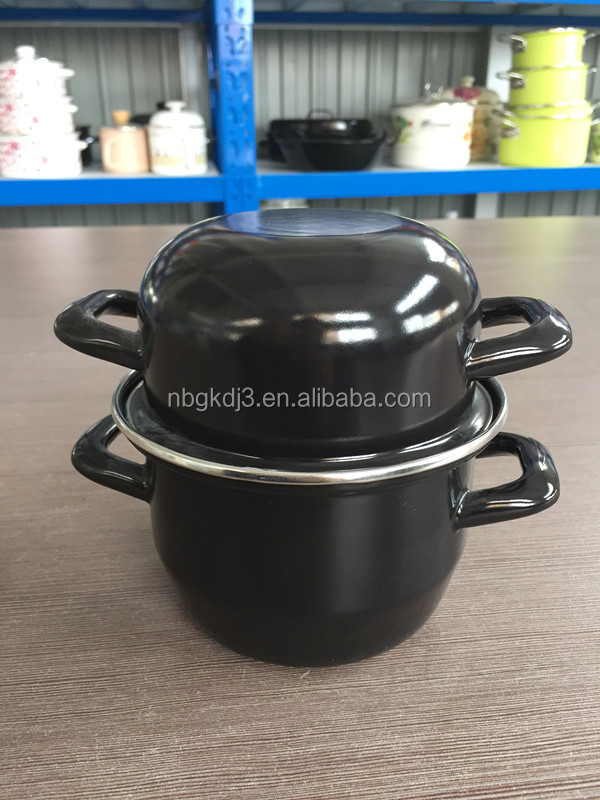 with decal 0.5mm thickness enamel mussel pot