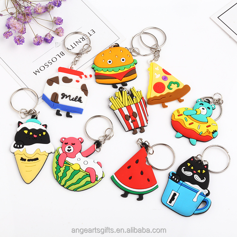 Wholesale Mix 13pcs/lot Cartoon Animal PVC Keychain Cute Food Fruit Key Rings Car Key Chains Child Toy Pendant Trinkets Llaveros