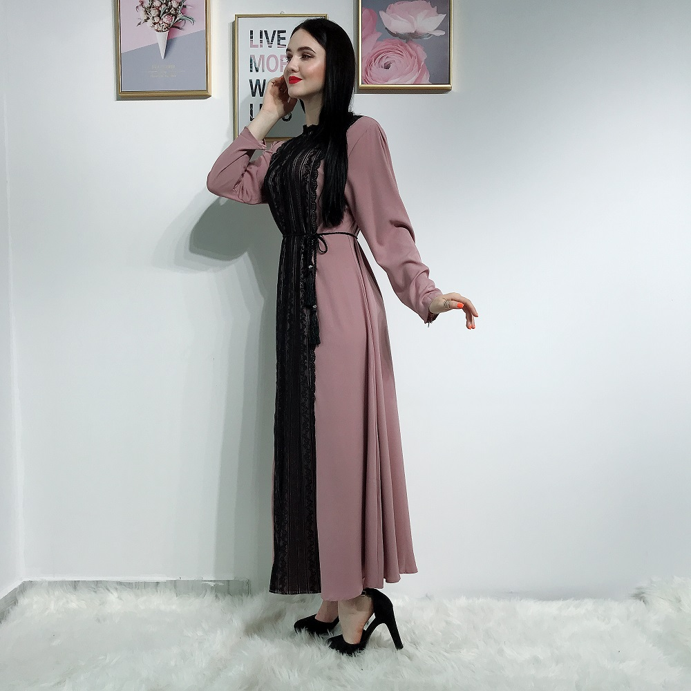 2019 new arrival simple style crepe with lace abaya muslim dresses for women