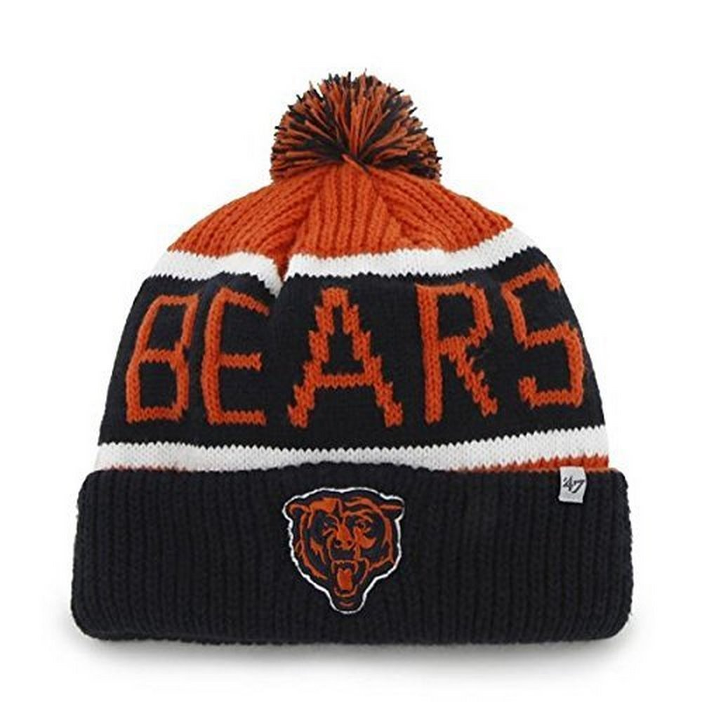 ... NFL Officially Licensed Chicago Bears 47 Brand Calgary Knit Pom Cuffed  Embroidered Beanie Hat Cap free  NFL Denver Broncos ... 6ea84ca5d