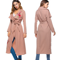New Arrivals Autumn Fashion Women Casual Lapel Floral Embroidery With Belt Long Cardigan Coat