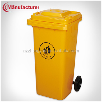 Large Medical Yellow Waste Bin Container,Wheels Hospital Waste Bin ...
