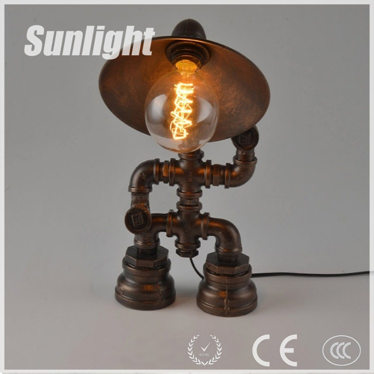 Steampunk Lamp Robot Water Pipe Lighting Table Edison Bulb For Bar Cafe Restaurant Led