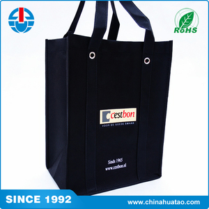 Fugang Custom Printed Black Big Size Recyclable PP Non-Woven Tnt Shopper Bag