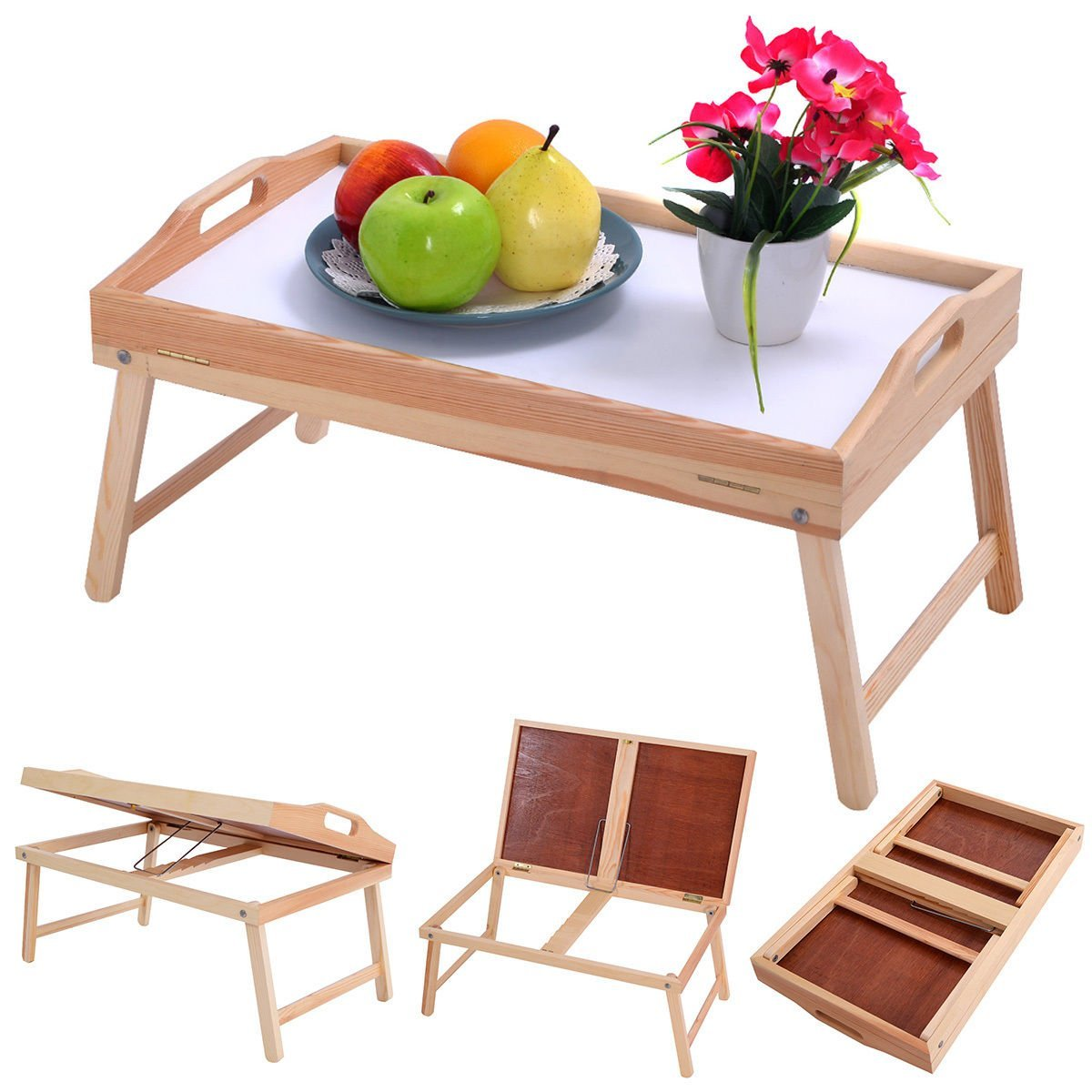 Get Quotations Wood Bed Breakfast Tray Laptop Desk Food Serving Folding Legs Table