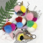Korean promotion key chain woman bag charms pom pom mink fur accessories boutique gift keychain for bag