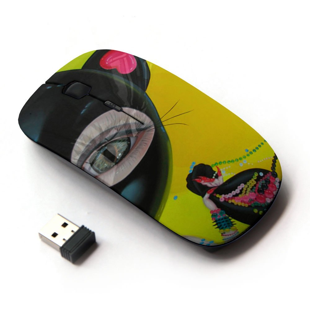 XP-Tech [ Slim Optical 2.4G Wireless Mouse Mice With Nano Receiver for PC Desktop Computer Laptop ] - One Eyed Cat-Woman