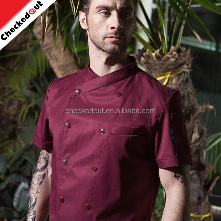 OEM logo korte mouw groothandel wit koken uniform double breasted dragen restaurant chef uniform jassen