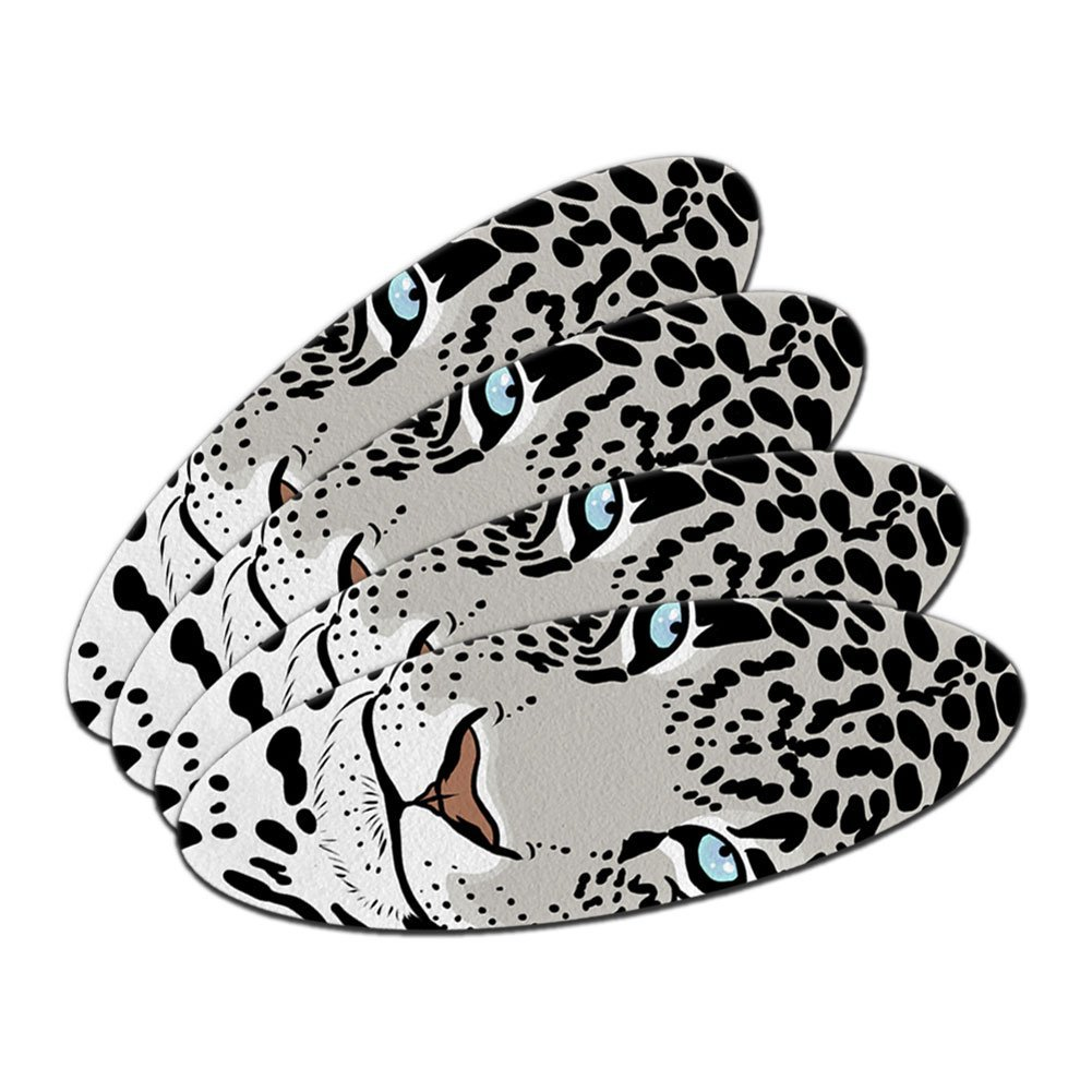 Snow Leopard - Big Cat Double-Sided Oval Nail File Emery Board Set 4 Pack