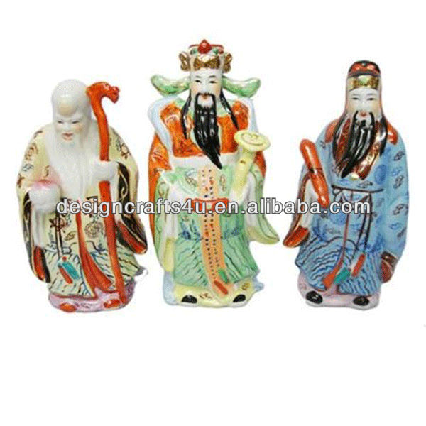 vintage porcelain three Chinese Gods Statue