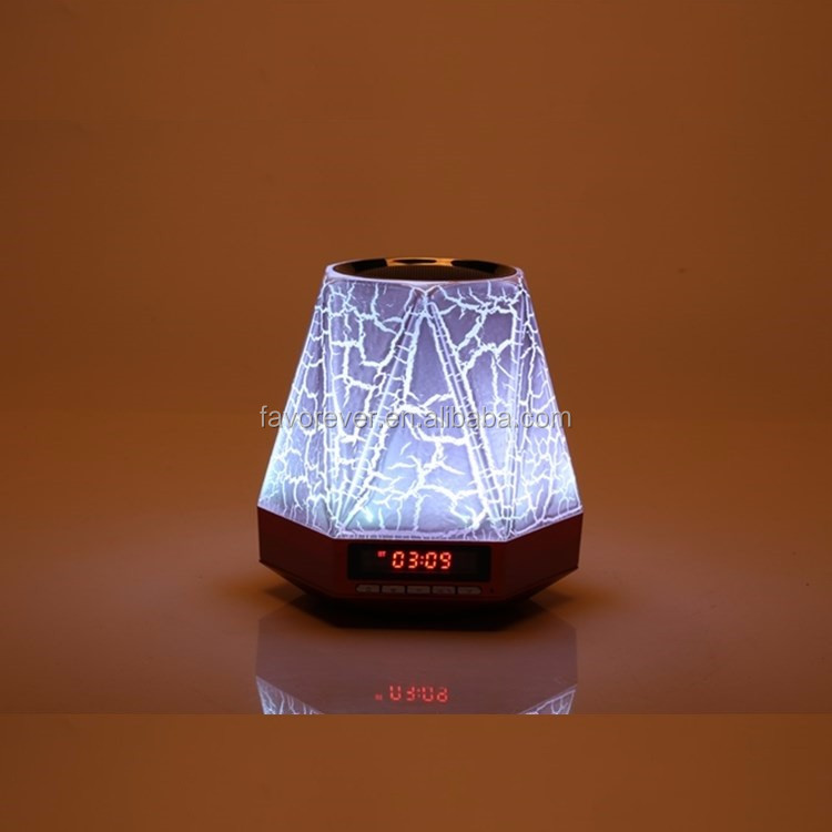 2016 New Product Romantic Led Light Mini Portable Bluetooth Speaker with Clock & 2200 mAh Huge Built-in Battery