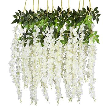 Artificial Wisteria Vine Ratta Hanging String Garland Silk Flowers