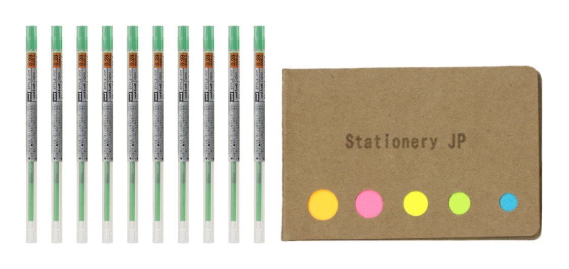 Uni-ball Signo Gel Ink Refills for Uni Style Fit Gel Multi Pen 0.28mm Green Ink, 10-pack, Sticky Notes Value Set