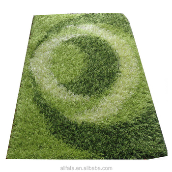 green shag rug with custom design