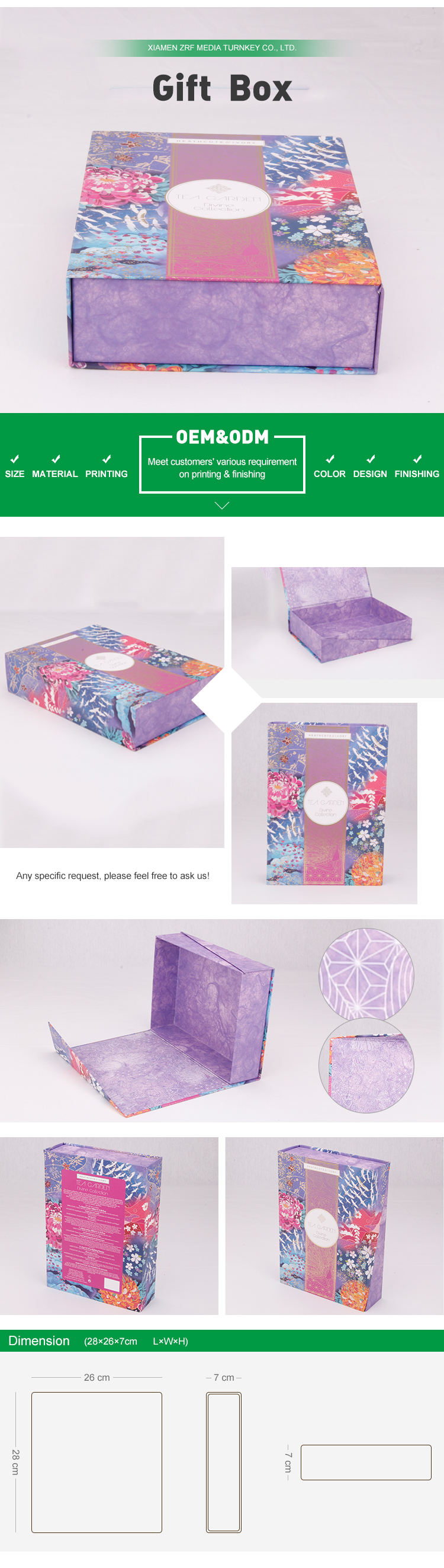 Various Sizes Print Pattern Cardboard Cosmetic Box Packaging