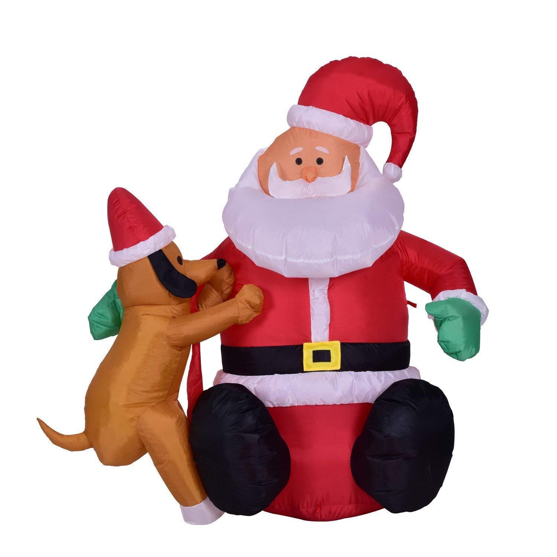 Xhope 4 Feet Christmas Xmas Inflatable Santa Claus Christmas Dog Decoration LED Lighted Blow-Up Yard Party Decoration (EU Plug 220V)