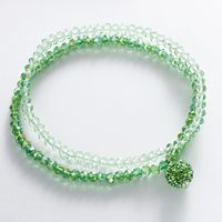 Factory Directly Cheaper Lovely Stylish Green & Rose & Lavender Bead Elastic Glass Crystal Bracelet