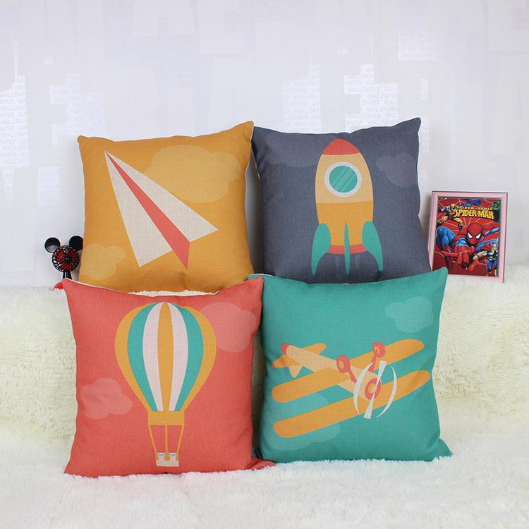 Free shipping throw pillow cotton linen 45cm hot sale1 pcs Paper airplane rocket balloon new home Decor sofa pillows car cushion