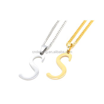New custom simple gold and sliver metal s alphabet letter necklace new custom simple gold and sliver metal s alphabet letter necklace pendant design alloy in pendants aloadofball Gallery