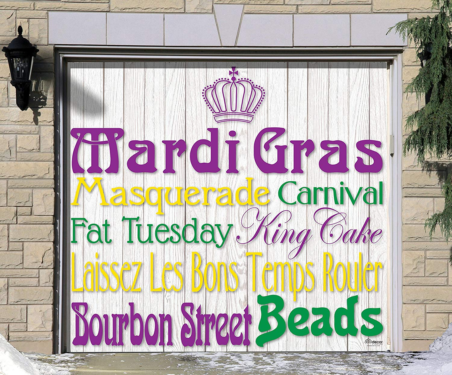 Victory Corps Outdoor Mardi Gras Decorations Garage Door Banner Cover Mural Décoration 7'x8' - Mardi Gras Words -The Original Mardi Gras Supplies Holiday Garage Door Banner Decor