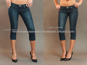 7e24c17d67c26e New Arrival Low Rise Skinny Stretchy Curvy Fit Fashion Ladies Rosie Jeans  Capri Dark-Blue