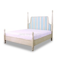 White & Blue colour Italian art deco headboard 1.8m solid wood platform bed frame