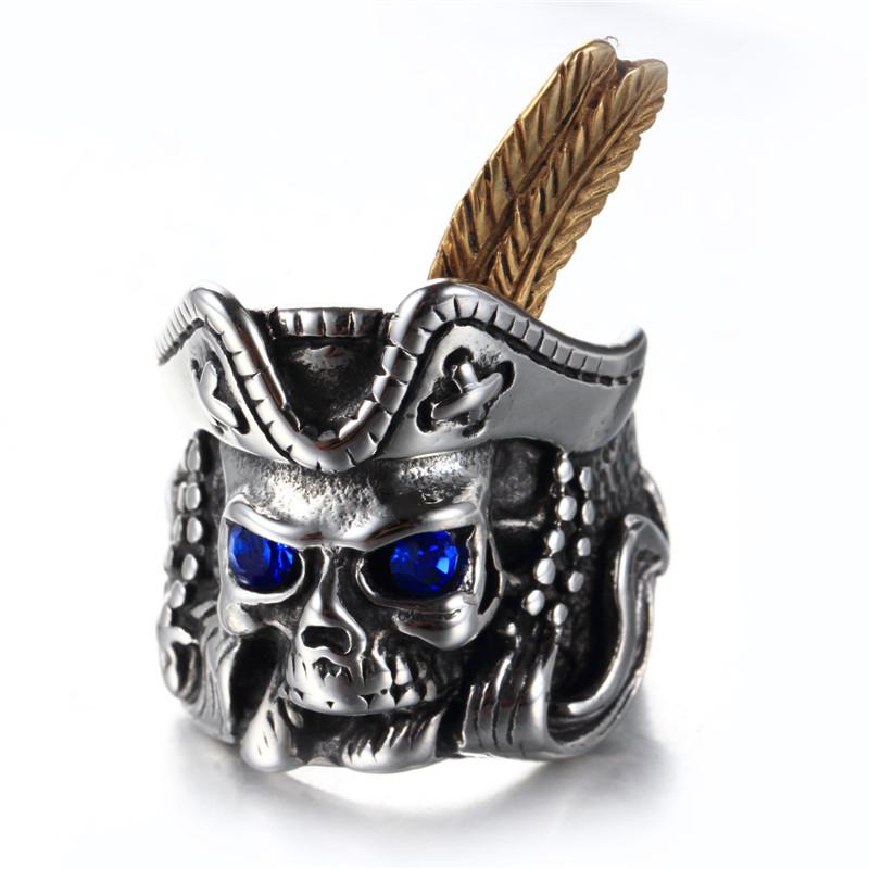 Hip Hop Stainless Steel Blue Eyes Cool Feather Pirate Skull Rings For Men Buy Cincin Tengkorak Bajak Laut Cincin Bulu Cincin Product On Alibaba Com