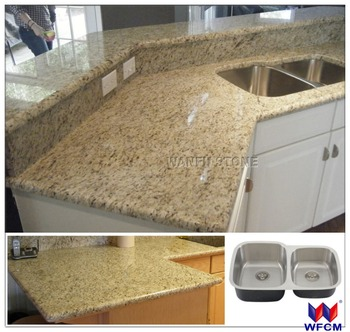 Double ogee edge gold granite countertop with stainless for Stainless steel countertops cost per sq ft