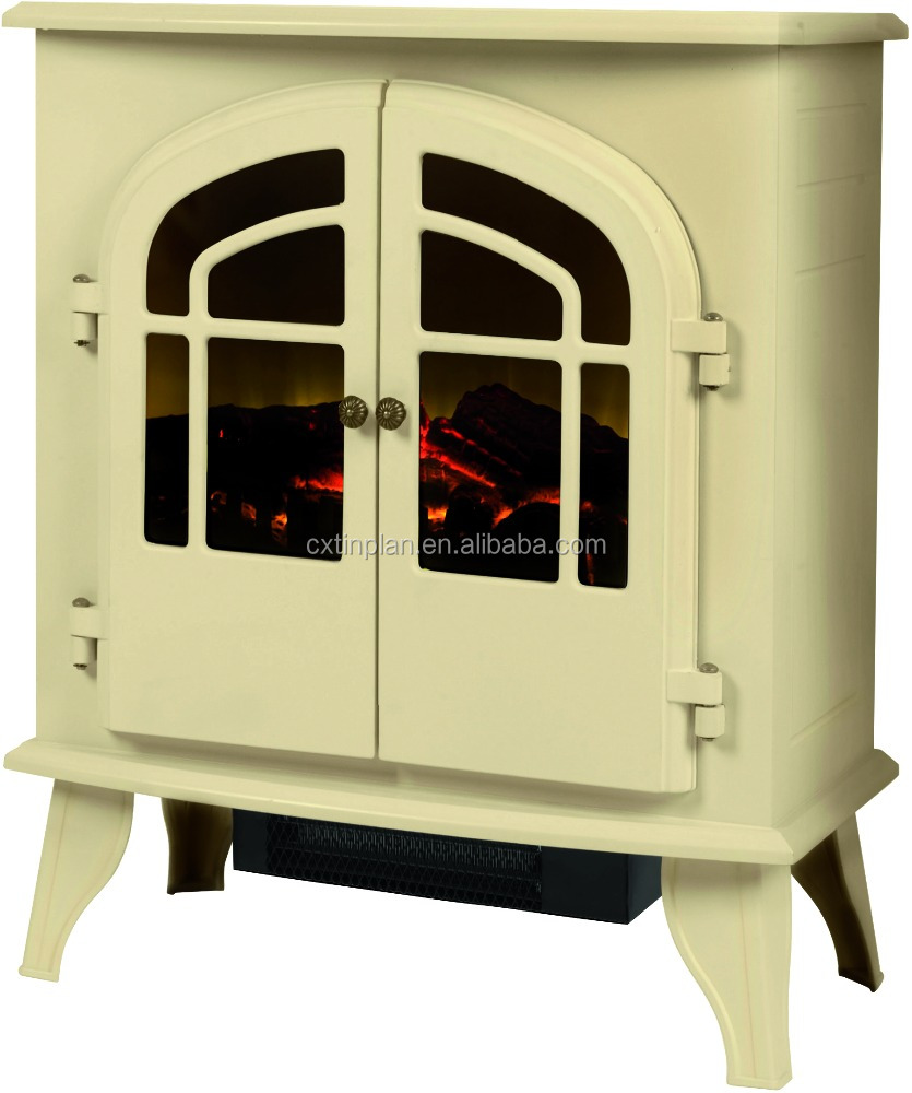 Cream elegant electric fireplace