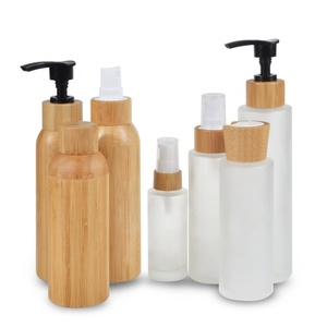 Hot sale 30ml 50ml 100ml 120ml 150ml empty cream lotion serum bamboo cosmetic bottles and jars for cosmetic packaging