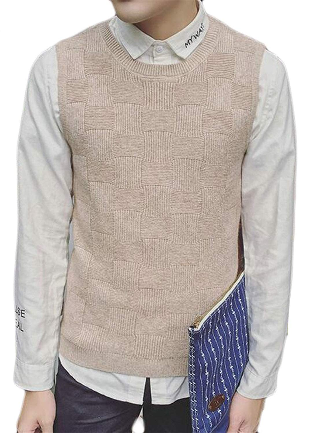 83e7f70e7 Get Quotations · MLG Mens Fashion Crewneck Sleeveless Solid Color Knit Sweater  Vest