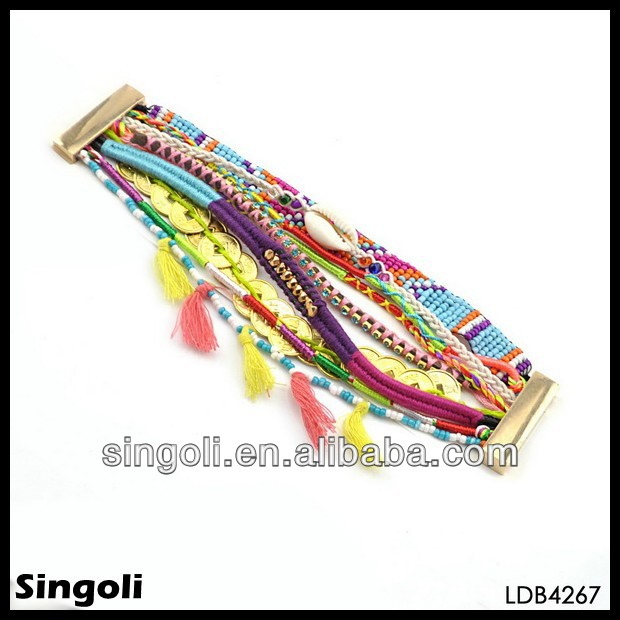 2014 new product alibaba china embroidered fabric bracelets row mala bead sideway shell tassel mutil color gold coin bracelet