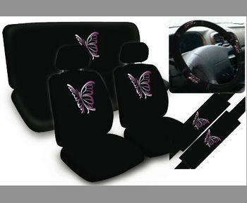 Universal Full Set Purple 11pc Butterfly Car Seat Covers