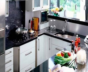Polished Black Galaxy Granite Stone Slab Counter Top For Kitchen
