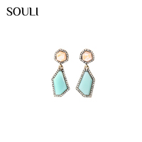 New style european crystal natural gemstone charm stud drop earrings