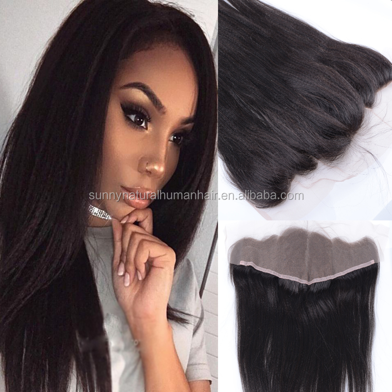 Brazilian hair lace frontal 13*4 kinky straight coarse yaki human hair lace frontals piece with baby hair middle part